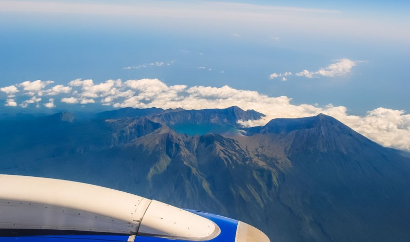 Mount Rinjani from the plane window