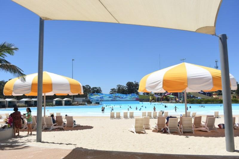 Wet n Wild Beach Sydney umbrellas