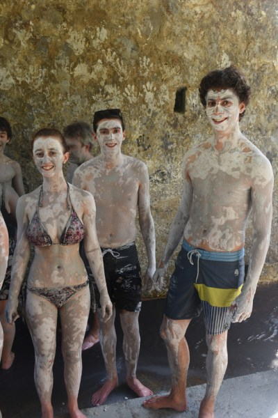 Mud bath at the Sulphur Springs Volcano St Lucia