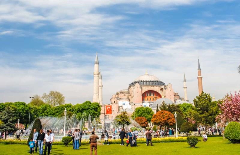 Aya Sofia Istanbul Turkey from Sultanahmet Park