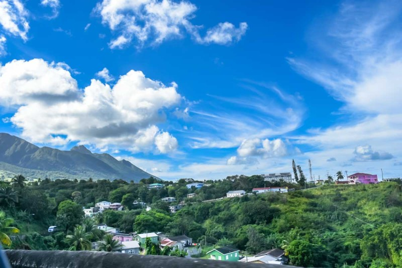 Village and mountains on St Kitts
