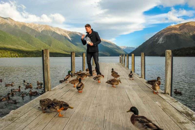 Feding the Ducks at Lake Rotoiti, Nelson Lakes National Park New Zealand