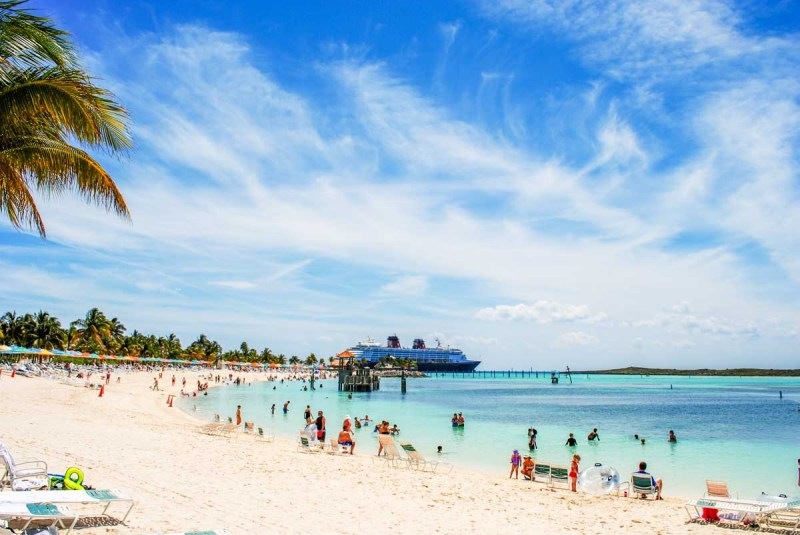 Main Beach of Castaway Cay overlooking the Disney Wonder