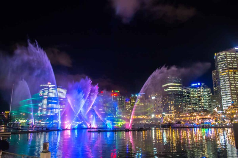 Vivid Sydney Magicians of the Mist light and fountain show Darling Harbour