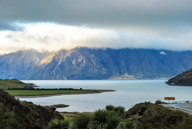 Lake Hawea on the way south to Wanaka New Zealand