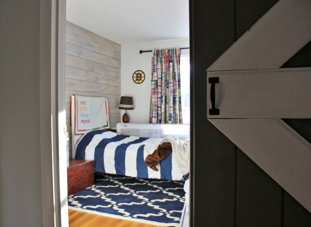 Barn Door And Whitewashed Shiplap In Little Mans Bedroom Back To Blueberry Hill