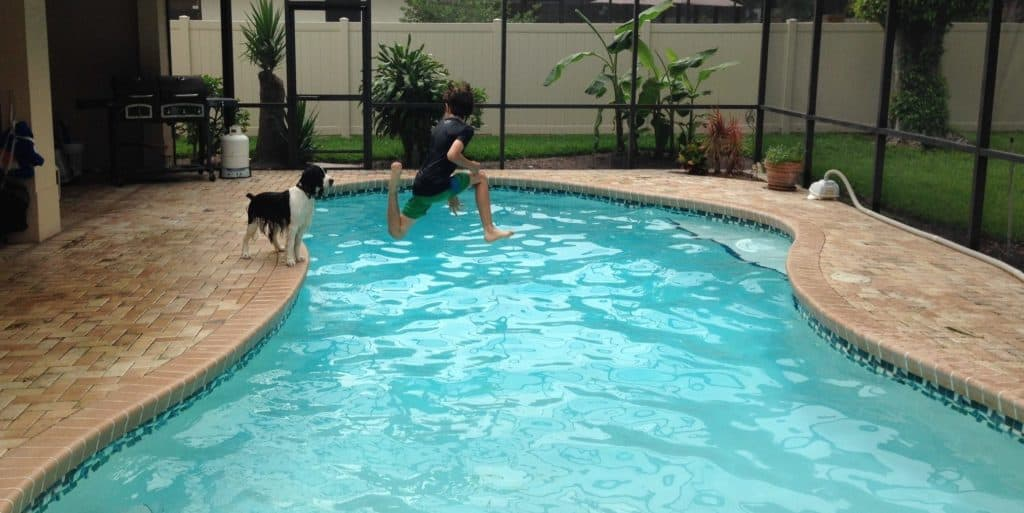 My son, several years ago, jumping in the pool.