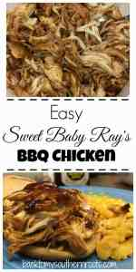 If you're looking for an easy meal for dinner, Sweet Baby Ray's BBQ Chicken is the way to go. Click on the pin and get the recipe.
