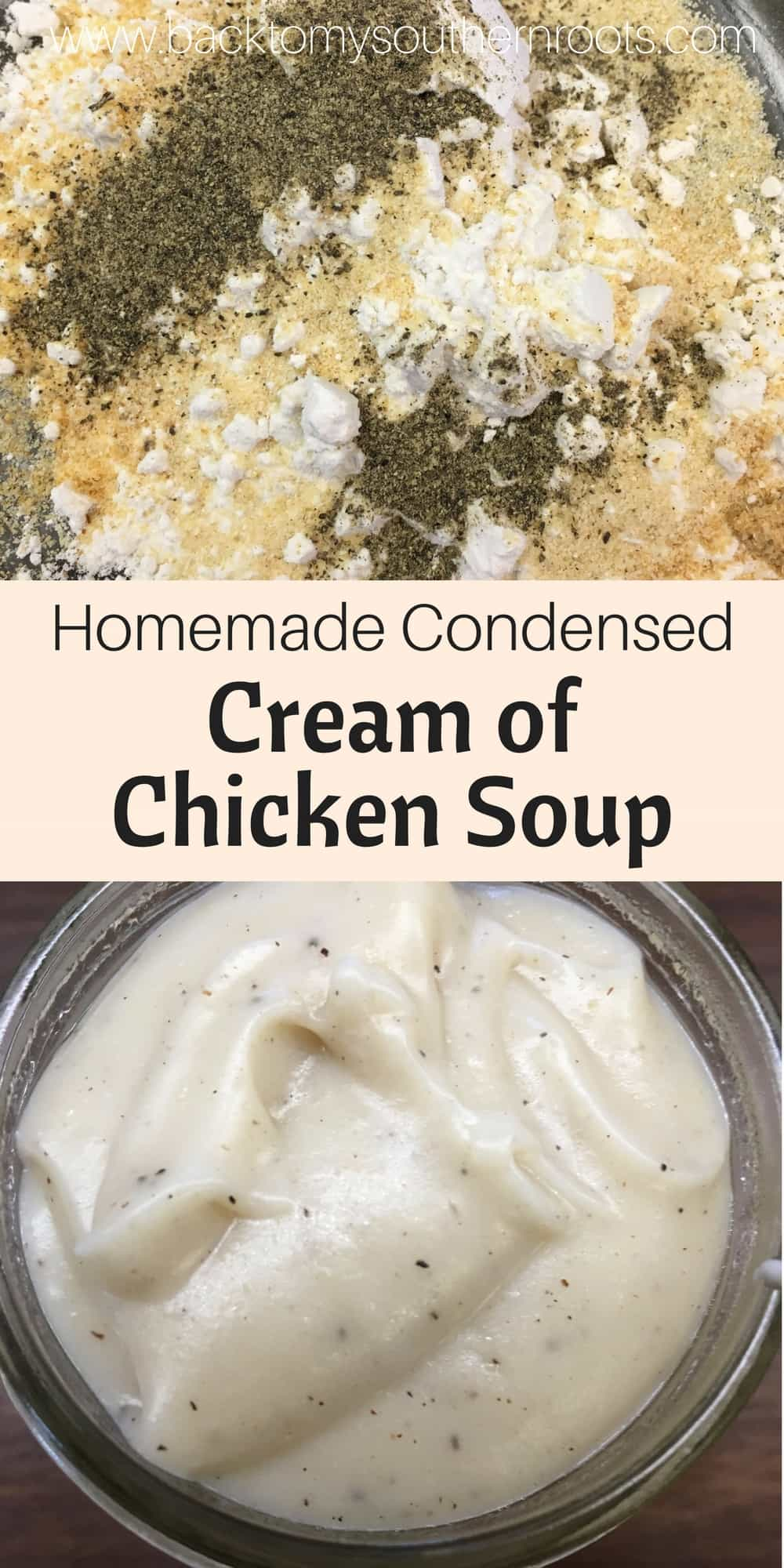 Easy Homemade Condensed Cream of Chicken Soup is a cinch to make in a pinch and you don't have time to run to the store to get a can, but need it now. It uses ingredients that most of us already have at the house.