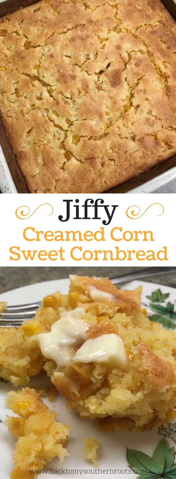 Jiffy Creamed Sweet Cornbread is one of my favorite side dishes. Cornbread is a staple in the south. Spoon it on a plate, add a little butter, and you have the perfect sweet cornbread.