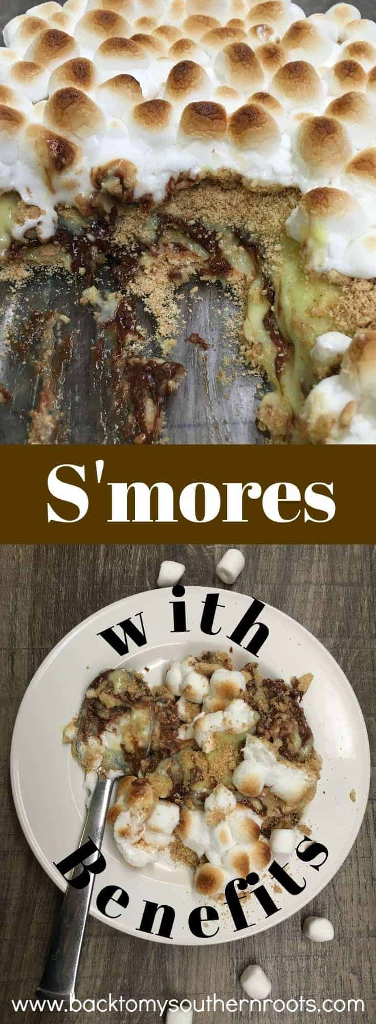 S'mores chocolate pudding dessert is like s'mores with benefits. Chocolate bars, graham crackers, marshmallows, and vanilla pudding make up this rich and delicious dessert you won't be able to put down.