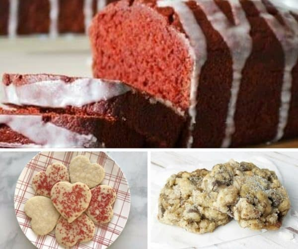Foodie Friday Link Party #24 Desserts, red velvet banana bread, Valentine cookies, and Cowboy Cookies