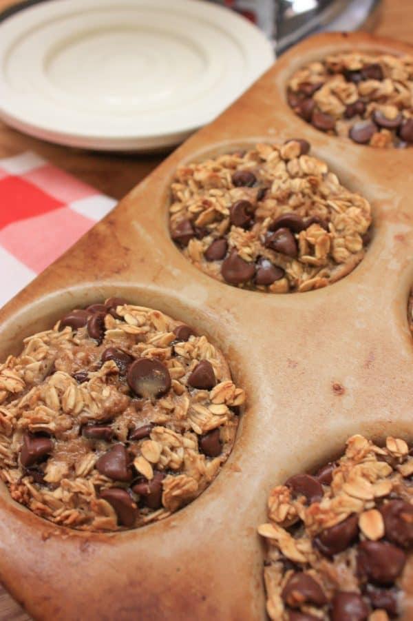 Banana oatmeal muffins in a muffin pan
