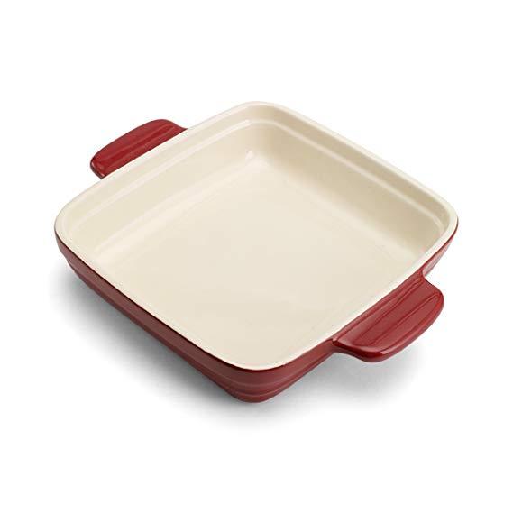 Pedrini Square Ceramic Baker (9 x 9-Inch, Red)