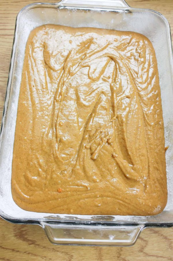 Bake the pumpkin spice cake mix for 35 to 40 minutes.