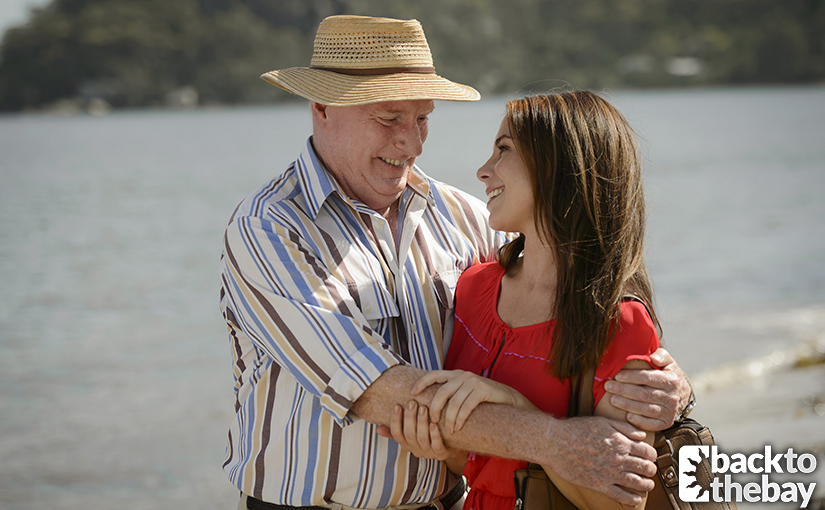 Alf, pictured with Sally (Kate Ritchie), will be back after six weeks!