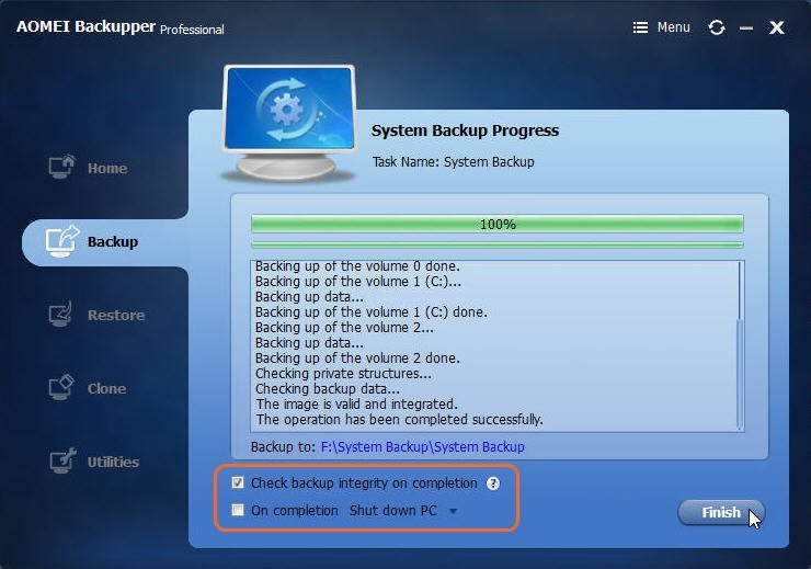 System Backup Progress