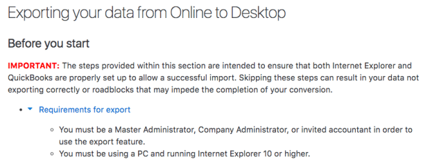 Not possible to export Quickbooks Online Data to Quickbooks
