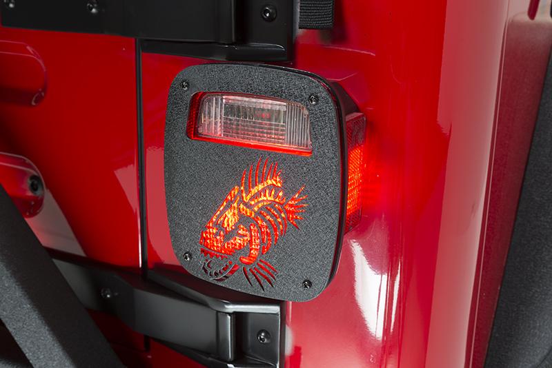 Jeep Wrangler CJ YJ TJ Tail Light Covers Black Textured Powdercoat Fishbone  Offroad