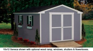 10x12 Seneca model shed in backyard