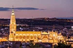 Toledo Cathedral at dusk