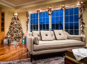 Ornate Christmas Tree in corner of modern home
