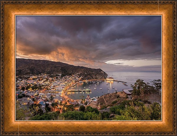 Recent sale of a print on Fine Art America or FAA of a wide panorama of Avalon on Catalina Island mounted in perfect copper colored frame