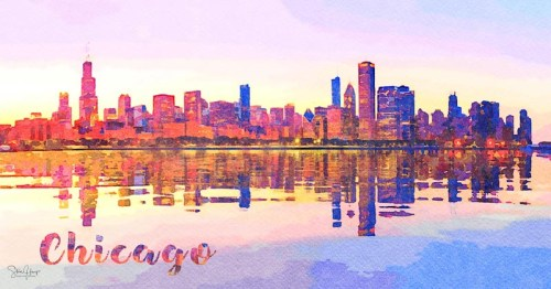 Digital watercolor painting of panorama of cityscape skyline of Chicago from the old observatory and reflected in Lake Michigan