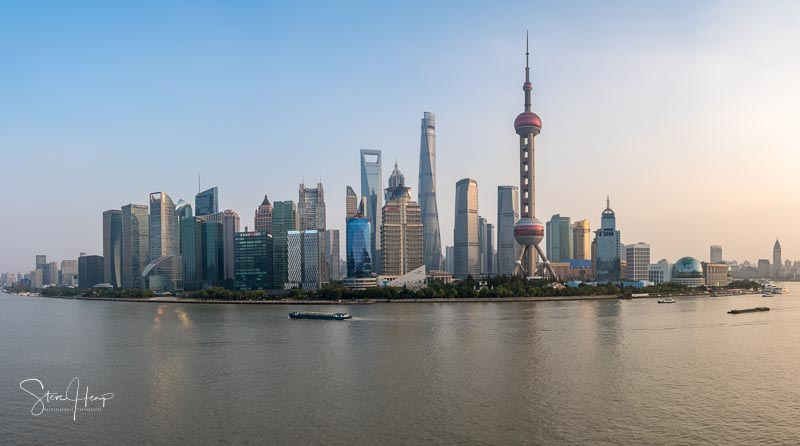 Skyline of the city of Shanghai at sunset