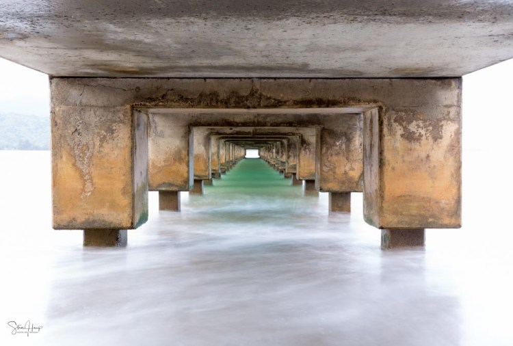 The under side of Hanalei Pier in Kauai