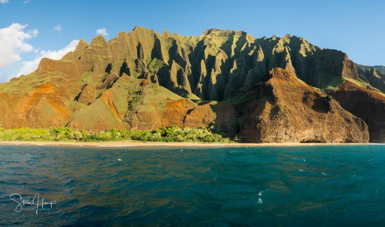 Na Pali coast of Kauai from sunset boat tour leaving Hanalei