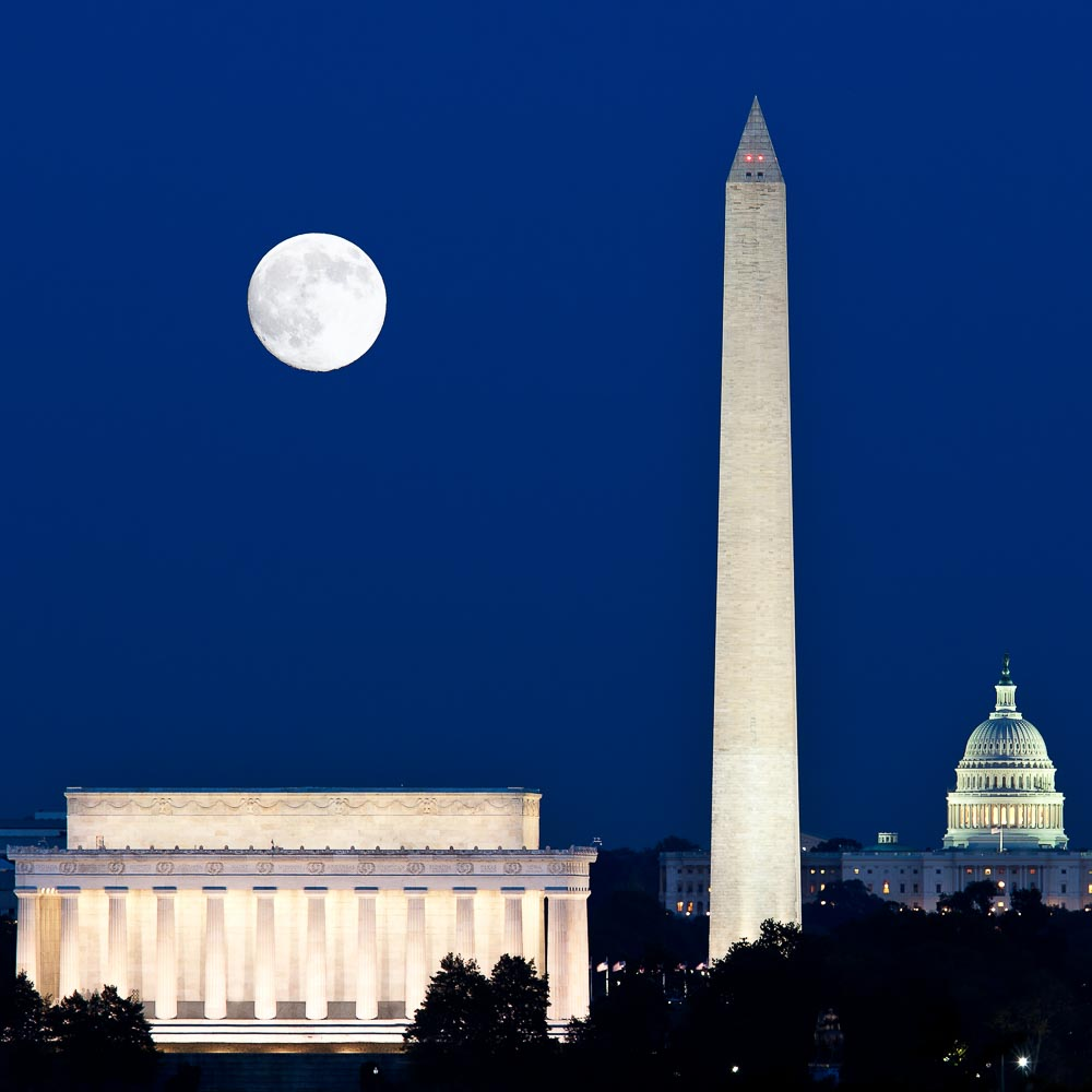 Harvest Moon over monuments in Washington DC
