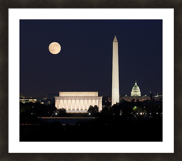Latest sale on Fine Art America - the moon rising over the three monuments on the Mall in Washington DC