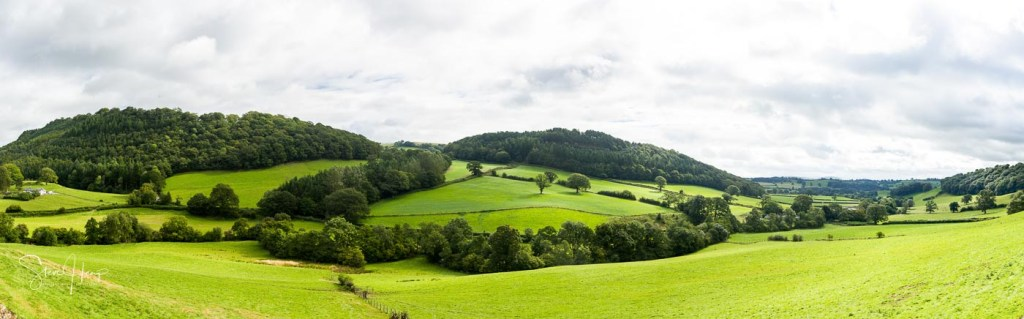 Wide panorama of the countryside on the Borders between England and Wales