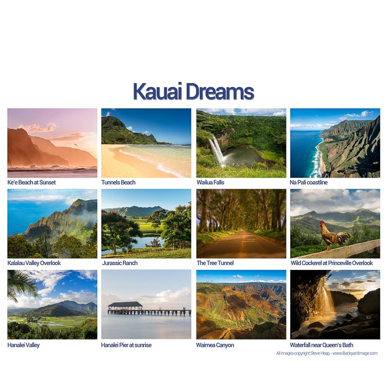 Selling calendars of high quality fine art photographs of Kauai