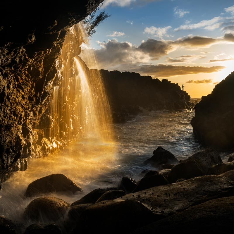 Evening sea fishing by waterfall