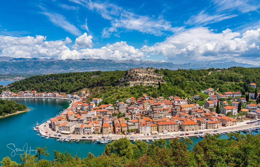Panorama of Novigrad in Croatia stock photo
