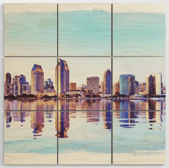 Recent sale on Society6 of a wood wall art print of San Diego