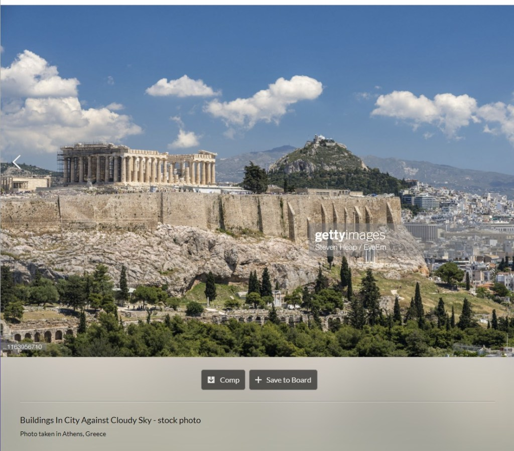 Athens Acropolis found on Getty stock agency