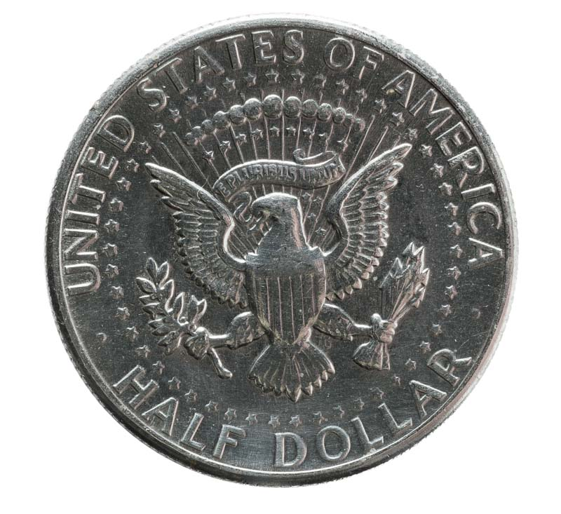 Half dollar coin isolated against white