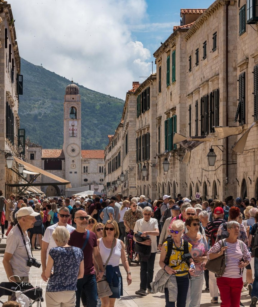 Editorial image showing over touristing in Dubrovnik Croatia