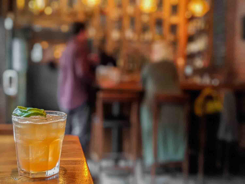 Basil bourbon cocktail at the Hopscotch whisky bar in Saint John, Atlantic Canada