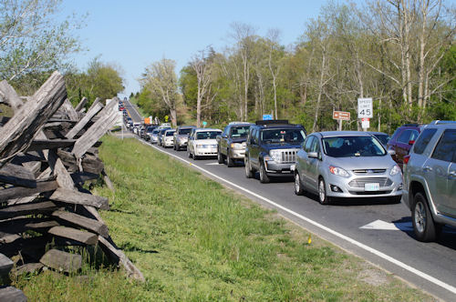 Traffic back-up on two-lane Sudley Road near the Stone House in Manassas battlefield park.