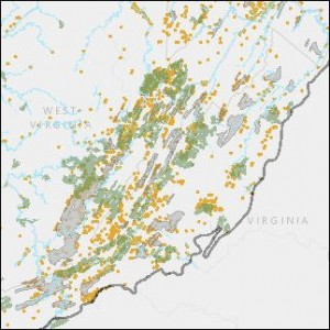 Nature Conservancy map shows priority forest cores (green), priority caves (gray), active cover in rivers (blue), and critical habitats (orange).