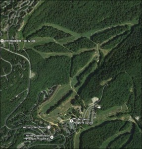 Aerial view of Wintergreen, showing ski slopes.