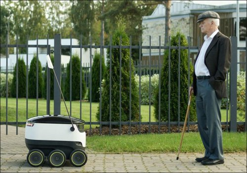 The Starship robot moves at pedestrian speed and weighs no more than 40 pounds, fully loaded.