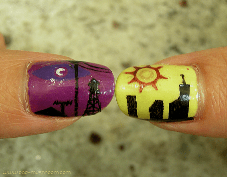 Night Vale vs Desert Bluffs nail art