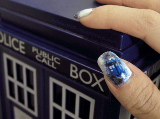 Doctor Who TARDIS watercolor galaxy pseudo-French tip manicure