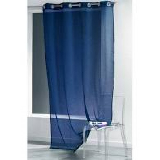 rideau voilage bleu marine uni a oeillets 135 x 240 cm