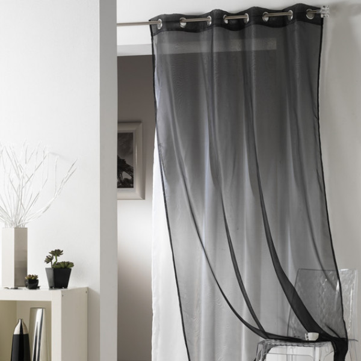 voilage noir today en panneau a oeillets 135 x 240 cm